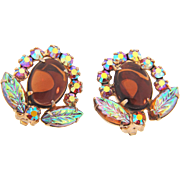 D&E Juliana clipback Earrings with topaz glass cabochon, AB rhinestones and molded glass leaves