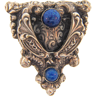 Intricately designed small 1940's Dress Clip with adventurine  blue glass stones