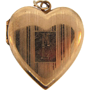 Vintage gold filled heart shaped Locket with initials ML