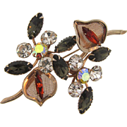 1960's vintage floral rhinestone Brooch with mesh leaves in autumn shades