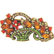 Vintage flower basket Brooch with colorful rhinestones