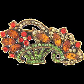 Vintage flower basket Brooch with colorful rhinestones