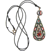 Made in Italy early micro mosaic tear drop Pendant on original black cord necklace