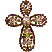 Very large vintage Cross Brooch with rhinestones and splatter glass cabochons