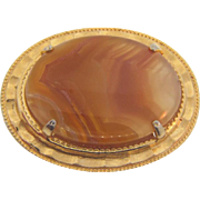 Vintage banded agate Brooch in a gold tone frame
