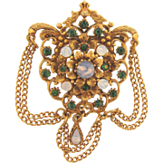 Signed Florenza Victorian Revival Brooch with opalescent stones, green rhinestones and dangling chains