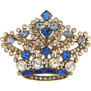Gorgeous vintage figural crown Brooch with crystal and blue rhinestones