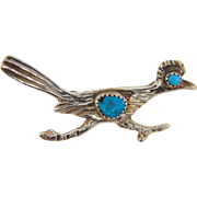 Marked sterling (silver) figural roadrunner Brooch with turquoise stone