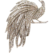Large Art Deco 1940's figural Bird Brooch with pave set crystal rhinestones