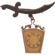Masonic pin with dangling fob/pendant