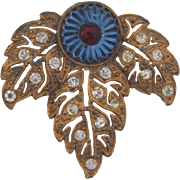 Patent dated early 1930's gold wash Brooch with Vauxhall blue glass center piece and crystal rhinestones