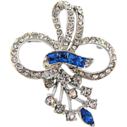 Beautiful floral 1940's Brooch with crystal and blue rhinestones
