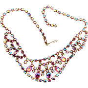 Beautiful festoon rhinestone choker Necklace with  AB and pink rhinestones