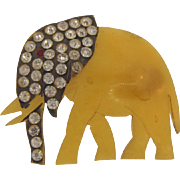 Vintage Bakelite figural Brooch of an elephant with rhinestones