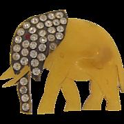 Vintage Bakelite figural Brooch of an elephant with rhinestones
