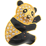 Sweet figural panda Brooch with rhinestones and black enamel