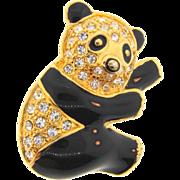 Sweet figural panda Brooch with rhinestones and black enamel