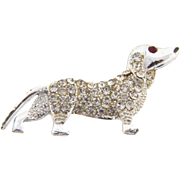 Cute 1950's Dachshund dog figural Brooch with crystal rhinestones
