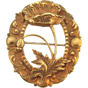Gorgeous Victorian gold filled Brooch  of floral poppy design