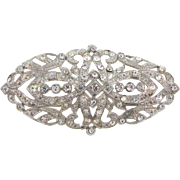 Art Deco large pot metal Brooch with crystal rhinestones