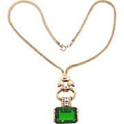 Art Deco pendant choker Necklace with large emerald glass stone and crystal rhinestones