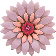 Vintage 1960's enamel flower Brooch in lavender and pink shades