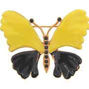 Vintage enamel butterfly Brooch with rhinestones