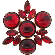 Vintage large 1960's Brooch with red cabochons and rhinestones