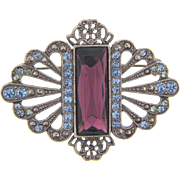 Vintage 1960's Brooch with blue rhinestones and large center rectangular amethyst colored glass stone