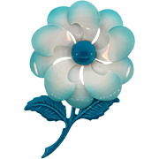 1960's enamel flower Brooch in shades of blue and white
