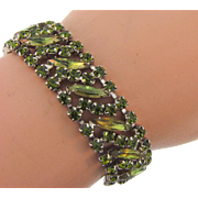 Vintage 1960's link Bracelet with unusual olivine colored rhinestones