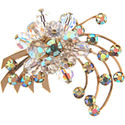 Vintage retro 1960's floral Brooch with AB rhinestones and crystal beads