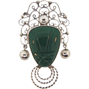 Marked Sterling 925 Plata Mexican Brooch with molded green onyx mask