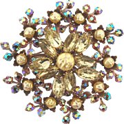 Large 1960's floral rhinestone Brooch with composition beads