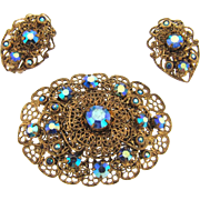 Beautiful vintage filigree Brooch and clip on Earrings with blue AB rhinestones