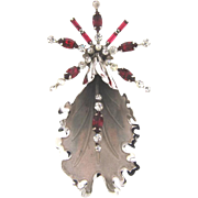 Signed Bond Boyd sterling Orchid Brooch with crystal and red rhinestones
