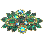 Beautiful 1960's rhinestone Brooch in shades of green