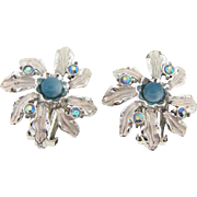 Signed Judy Lee floral clipback Earrings in a floral design with AB rhinestones and small moonglow bead