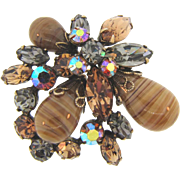 Signed Regency 1960's rhinestone Brooch with art glass beads in earth tone colors