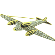 Signed Carolee figural airplane Brooch with crystal rhinestones and black enamel