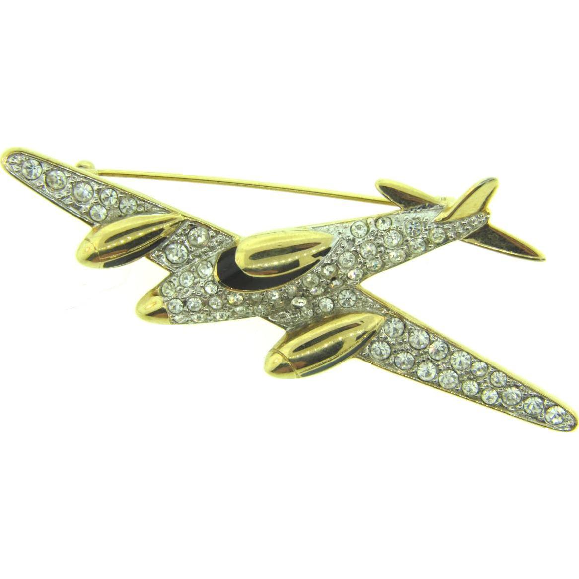 Signed Carolee figural airplane Brooch with crystal rhinestones and black enamel