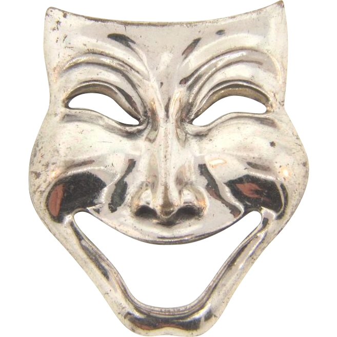 "Signed Beau sterling silver theatrical mask "" Comedy"" Brooch"