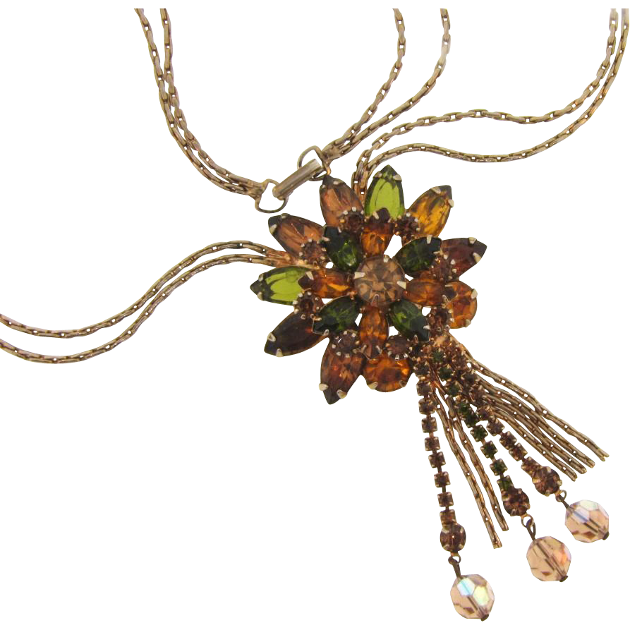 Vintage 1960's double chain rhinestone pendant Necklace in fall shades