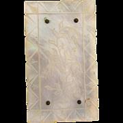 Vintage mother of pearl with etched floral design Belt Buckle