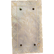 Vintage mother of pearl with etched floral design Belt Buckle