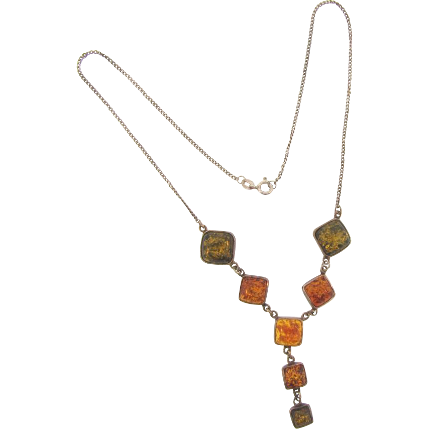 Marked 925 silver graduated sized genuine amber squares Necklace