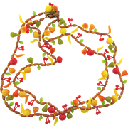 Marked Western Germany novelty plastic fruit and wooden bead double strand Necklace