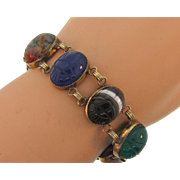 Vintage gold filled link Bracelet with large semi precious carved scarab stones
