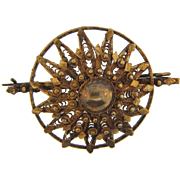 Early Etruscan style domed Brooch with gold wash