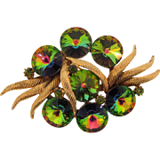 Gorgeous watermelon rivoli rhinestone 1960's Brooch